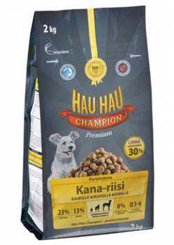 Сухой корм для собак всех пород Hau Hau Champion Chiken- Rice Adult Dog курица с рисом 2 кг, 6 кг, 15 кг